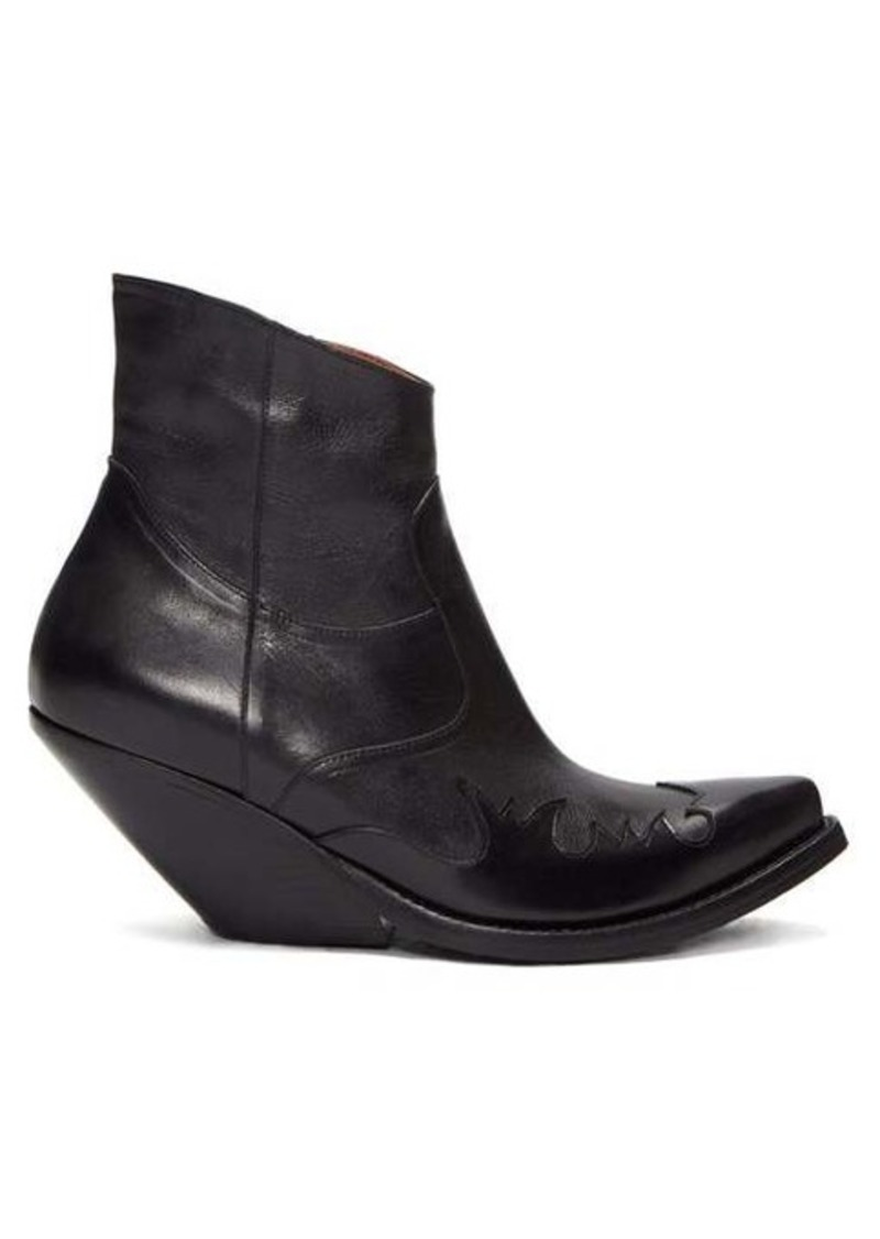 Vetements Slanted-heel Western leather ankle boots
