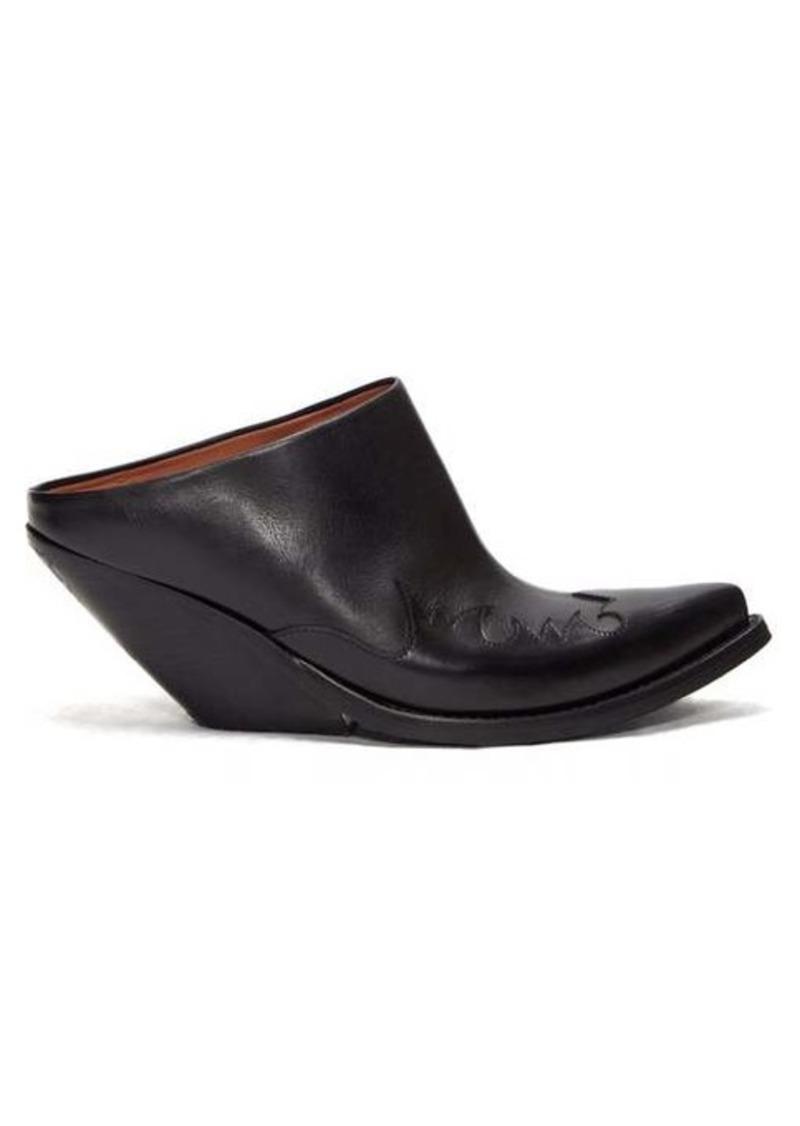 Vetements Slanted-heel Western leather mules