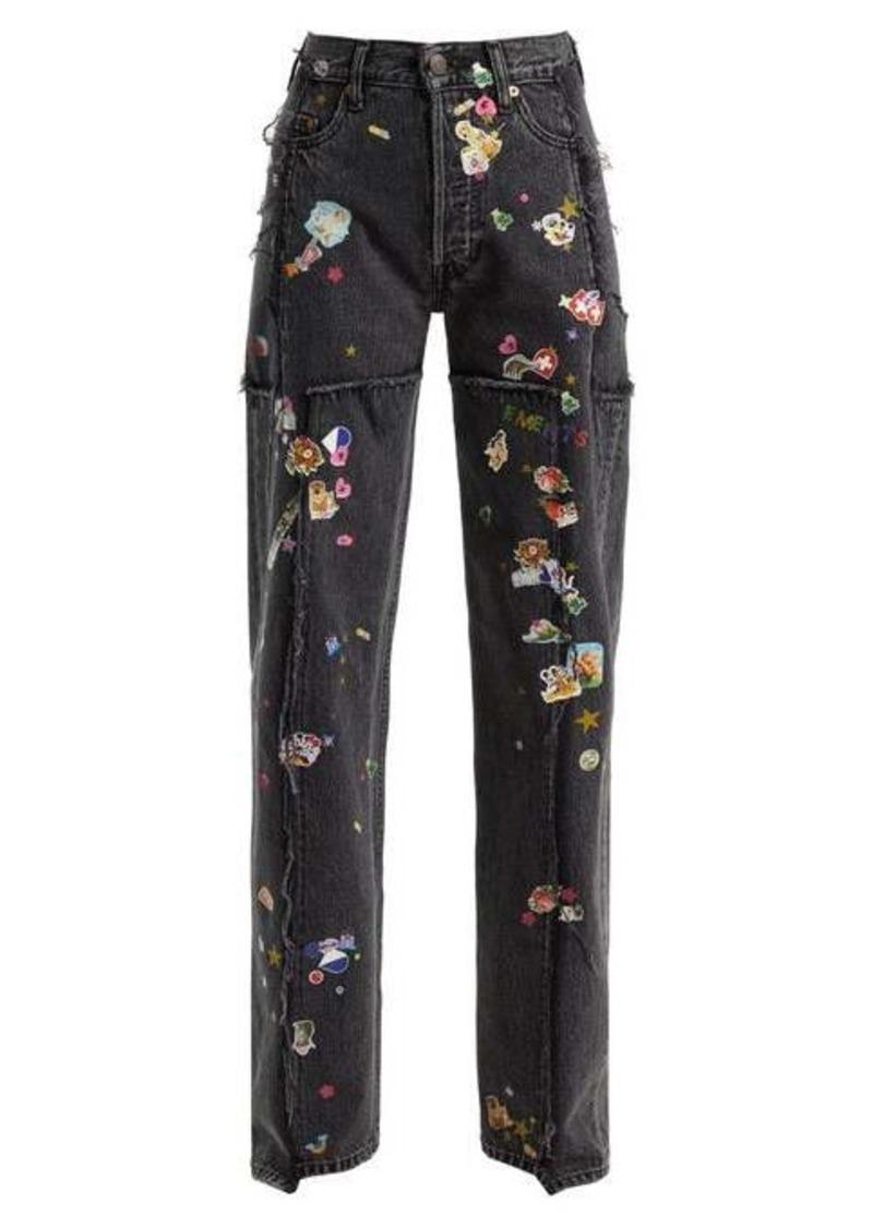 Vetements Sticker mid-rise straight leg jeans
