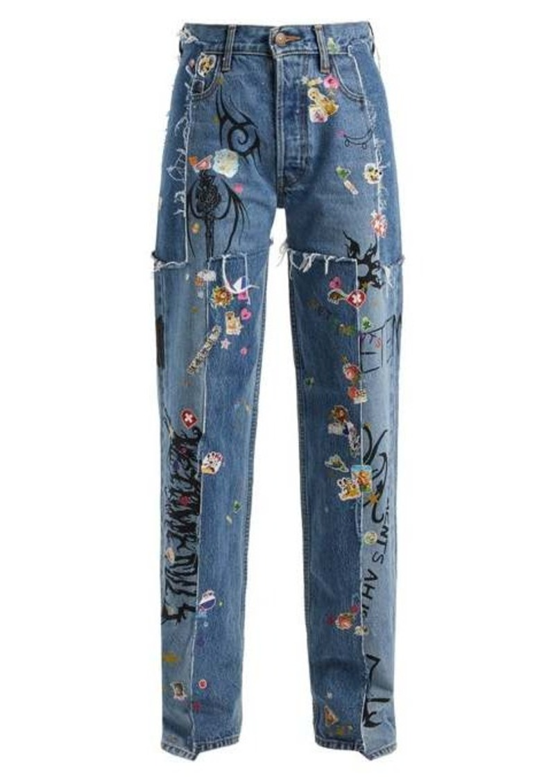 Vetements Sticker mid-rise straight-leg jeans