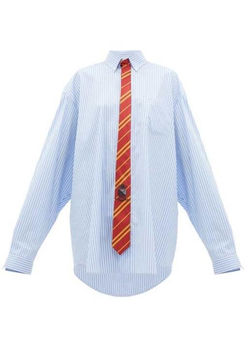 Vetements Tie-embellished striped shirt