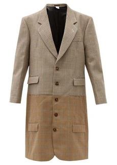 Vetements Two-tone houndstooth virgin-wool coat