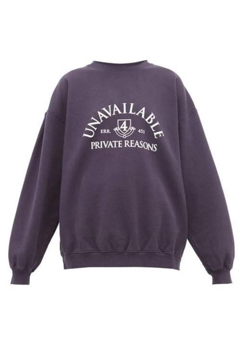 Vetements Unavailable-print cotton sweatshirt