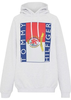 Vetements Woman + Tommy Hilfiger Printed French Cotton-blend Terry Hoodie Light Gray