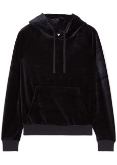 Vetements Woman Crystal-embellished Velour Hooded Top Black
