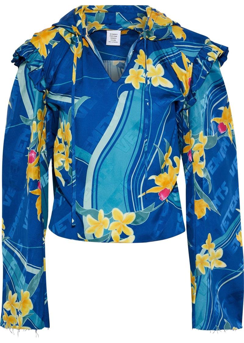 Vetements Woman Printed Silk-jacquard Hooded Blouse Bright Blue