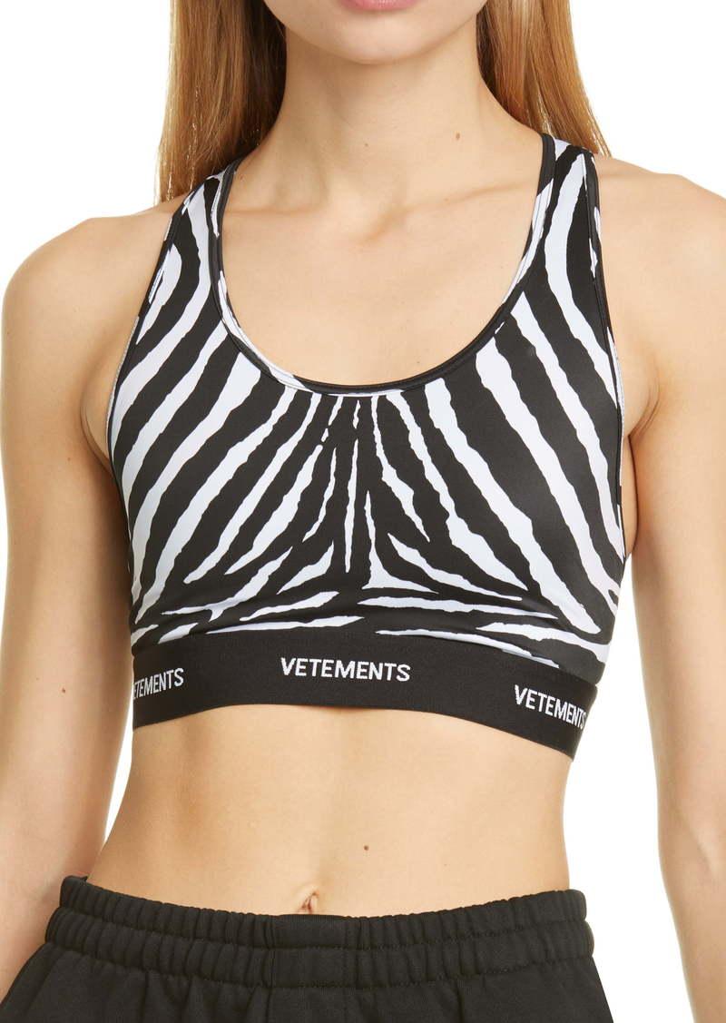 Vetements Zebra Print Sports Bra