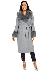 Via Spiga 3/4 Length Faux Fur Shawl Collar Coat with Faux Fur Cuffs