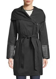 Via Spiga Asymmetric Belted Soft Shell Pea Coat
