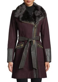 Via Spiga Asymmetric Zip-Front Soft-Shell Coat w/ Faux Fur Collar