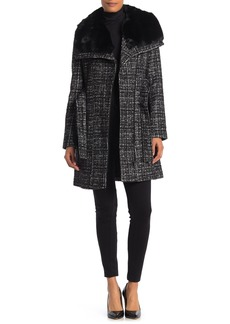 Via Spiga Asymmetrical Belted Faux Fur Collar Coat