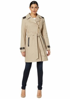 Via Spiga Asymmetrical Belted Trench with Faux Leather Detail