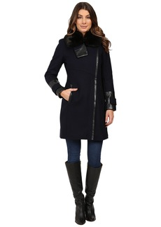 Via Spiga Asymmetrical Coat w/ Zip Front and Faux Fur Collar