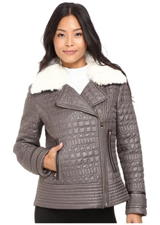 Via Spiga Asymmetrical Croc Like Quilted Bomber with Removable Luxe Faux Fur Collar