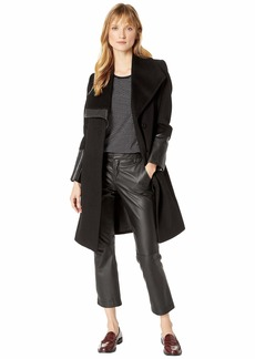 Via Spiga Asymmetrical Exaggerated Wing Collar with Faux Leather Trim
