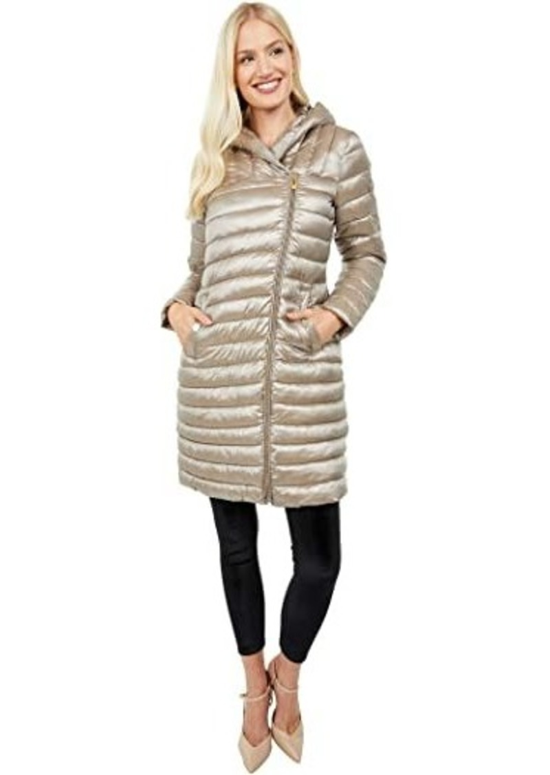 Via Spiga Asymmetrical Zip Packable Puffer Coat