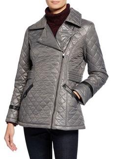 Via Spiga Asymmetrical-Zip Quilted Jacket