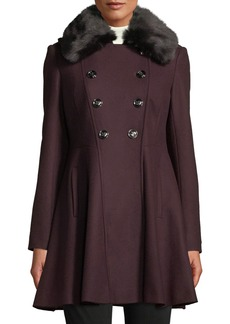 Via Spiga Belted Trench Coat W/ Faux Fur Trim