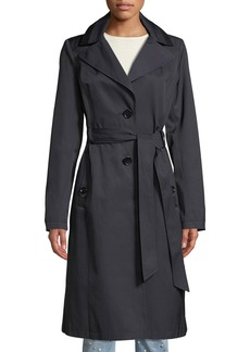Via Spiga Belted Two-Button Trench Coat with Removable Hood
