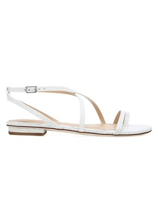 Via Spiga Calandre Flat Lizard-Embossed Leather Sandals