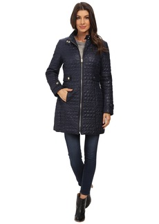 Via Spiga Crocodile Print Stand Collar Quilt Coat w/ Side Tabs