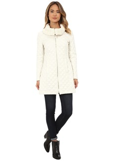 Via Spiga Diamond Quilt Coat w/ Knit Collar