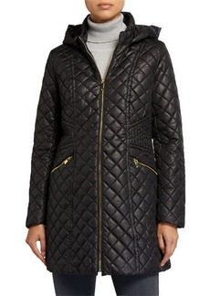 Via Spiga Diamond Stitch Hooded Quilt Coat