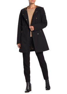 Via Spiga Double Breasted Faux Fur Lined Water Repellent Soft Shell Coat