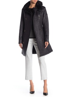 Via Spiga Double Breasted Faux Fur Trim Chevron Coat