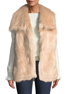 Via Spiga Draped Faux-Fur Vest