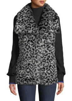 Via Spiga Draped Leopard Faux-Fur Vest
