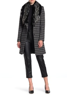 Via Spiga Faux Fur Collar Houndstooth Coat