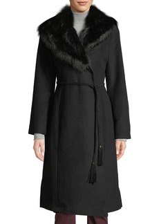 Via Spiga Faux-Fur Collar Wrap Coat