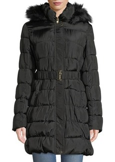 Via Spiga Faux-Fur Hooded Quilted Coat