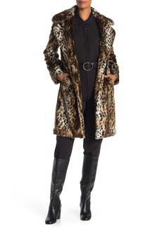 Via Spiga Faux Fur Leopard Coat