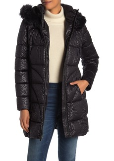 Via Spiga Faux Fur Lined & Trim Hood Quilted Jacket