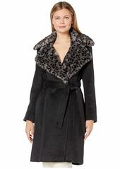 Via Spiga Faux Fur Mink Leopard Collar Belted Coat
