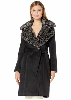 Via Spiga Faux Fur Mink Leopard Collar Belted Coat
