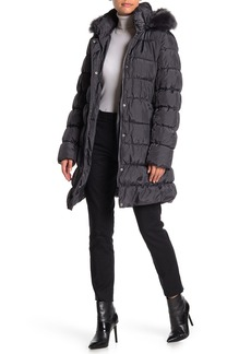 Via Spiga Faux Fur Quilted Puffer Coat