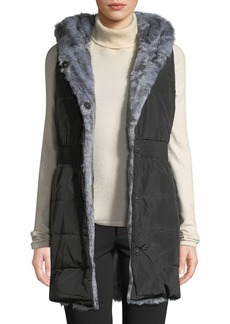 Via Spiga Faux-Fur Reversible Hooded Vest