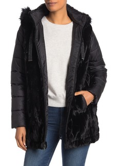 Via Spiga Faux Fur Trim & Bodice Puffer Sleeve Coat
