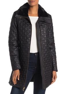 Via Spiga Faux Fur Trim Geometric Puffer Jacket