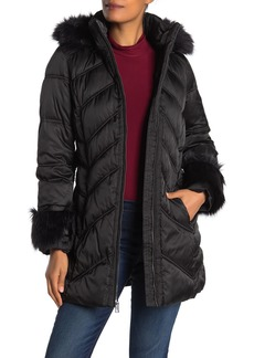 Via Spiga Faux Fur Trim Hood & Cuff Quilted Jacket