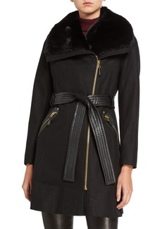 Via Spiga Faux-Fur-Trim  Wool-Blend Coat