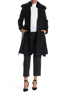 Via Spiga Faux Fur Trim Wool Blend Coat