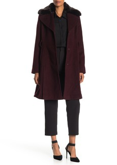 Via Spiga Faux Fur Trim Wool Blend Coat