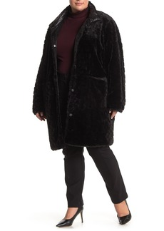 Via Spiga Faux Fur Water-Repellent Reversible Coat (Plus Size)
