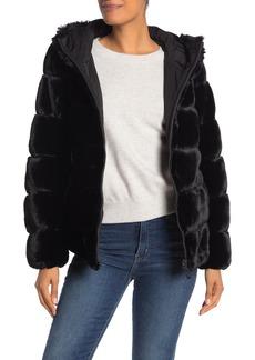 Via Spiga Grooved Faux Fur Hoodie Jacket