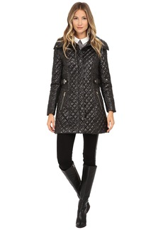 Via Spiga Hidden Zip Front Quilt Coat w/ Side Tab Detail