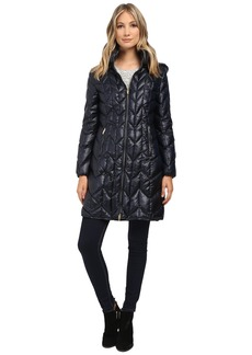 Via Spiga Hooded Long Chevron Packable Coat
